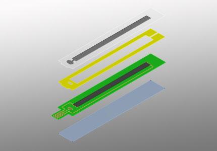 Explosionszeichnung eines linearen Folienpotentiometers