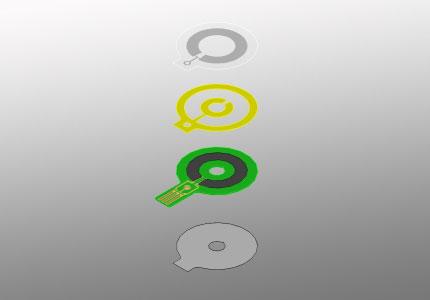 Explosionszeichnung eines radialen Folienpotentiometers