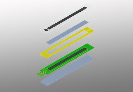 Explosionszeichnung eines linearen hybrid Folienpotentiometers